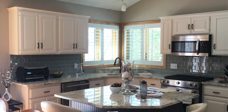 White Shutters In Kitchen