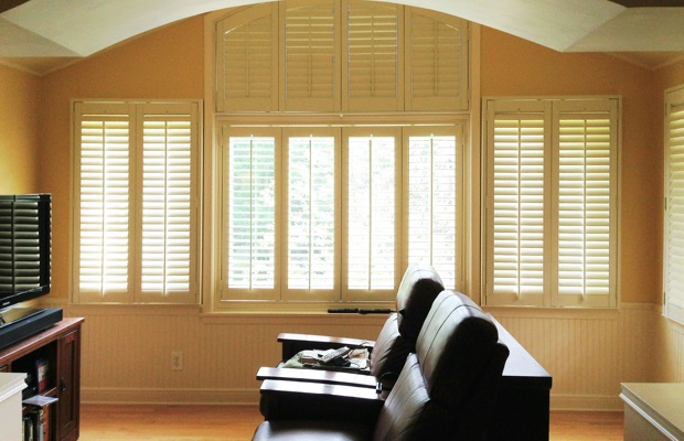 Tampa plantation shutters in home theater