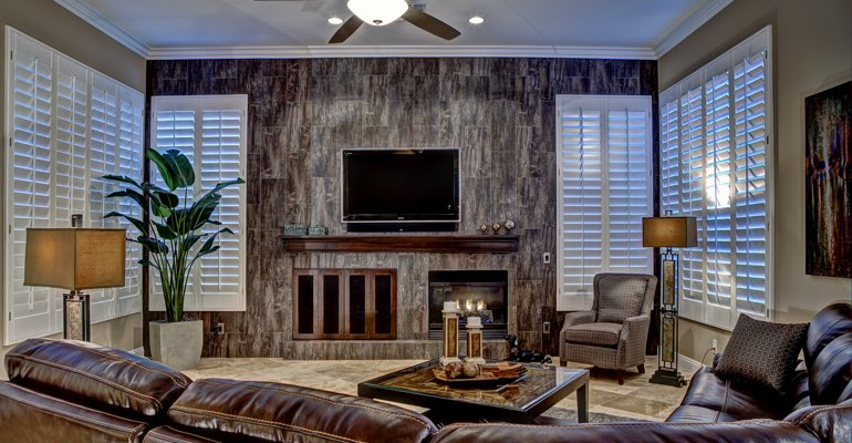 Tampa living room with shutters