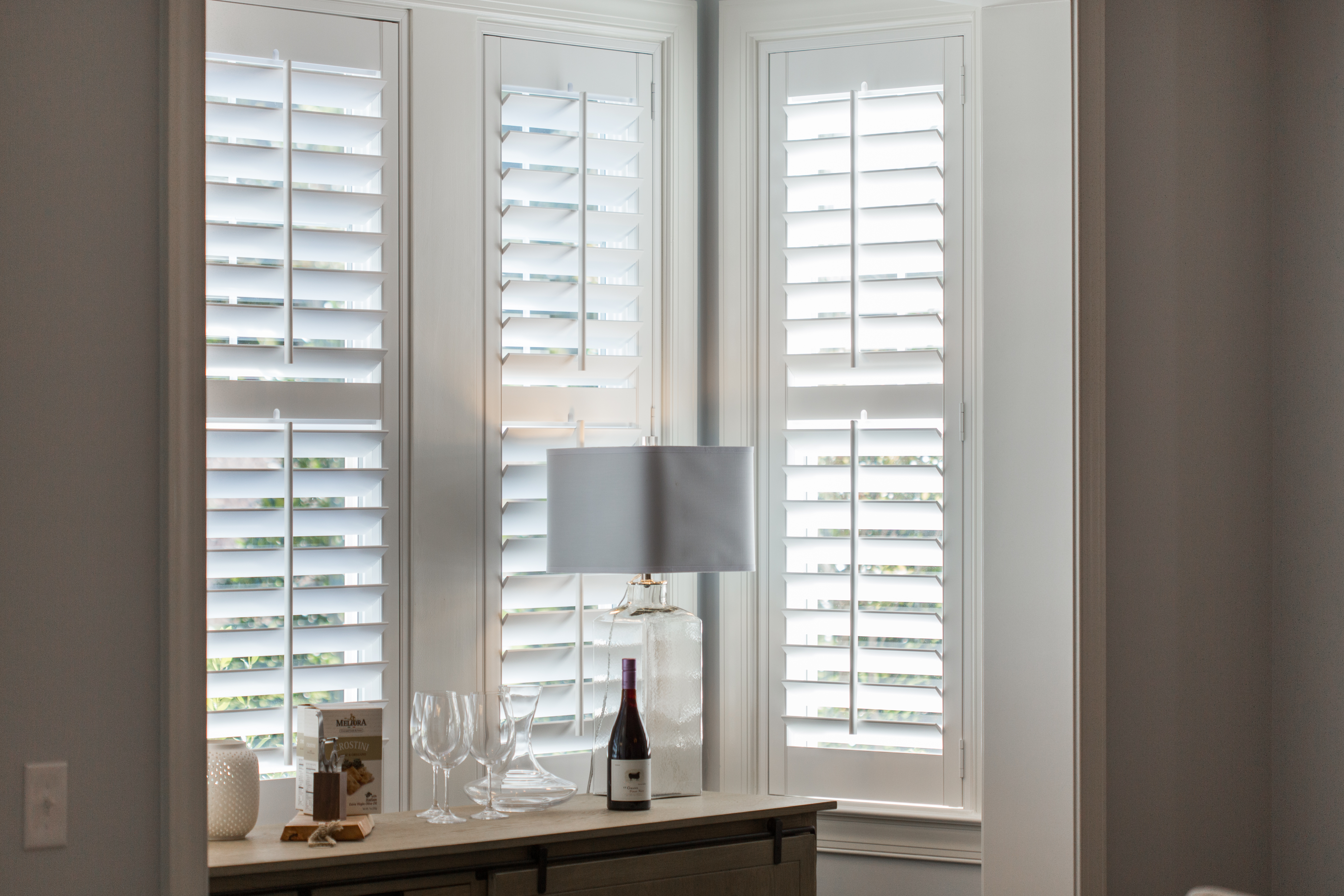 White shutters in Tampa alcove.