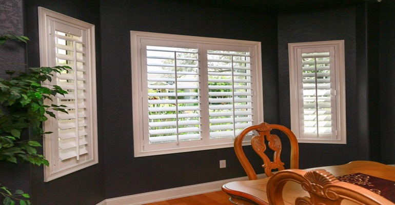 Beautiful Polywood Shutters In Dining Room With Dark Paint