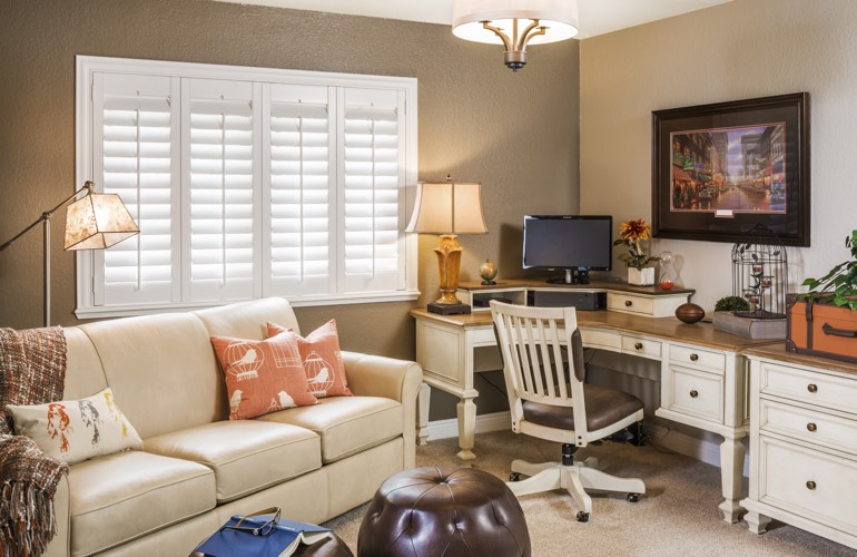 4 home office window treatment ideas in tampa sunburst shutters tampa fl - Home office furniture tampa ...