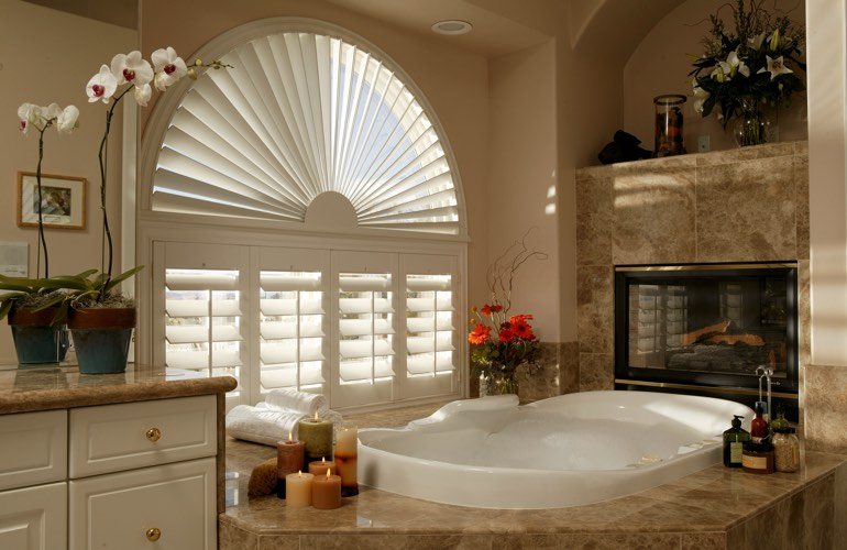 Our Specialists Installed Shutters On A Sunburst Arch Window In Tampa, FL