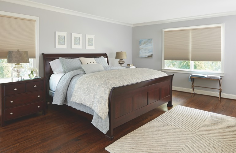 Pull-down shades in a Tampa bedroom.