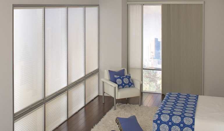 Cellular shades in a minimalistic apartment.