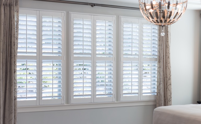 Tampa plantation shutters master bedroom