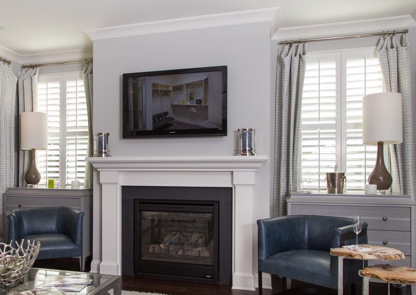 family room Tampa faux wood shutters
