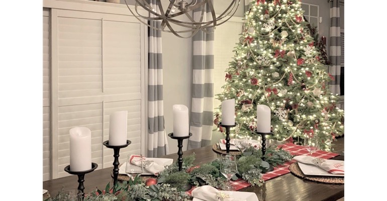 Christmas table in festive dining room.