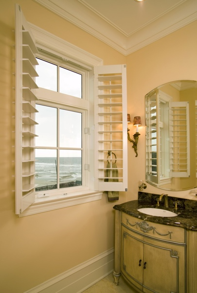 White shutters in Tampa coastal home