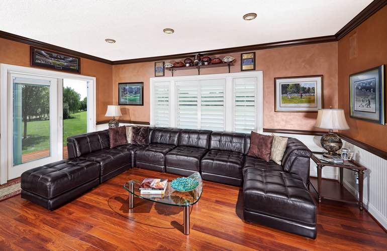 Tampa basement with glass doors and plantation shutters.