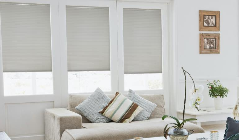 Double cell shades in family room