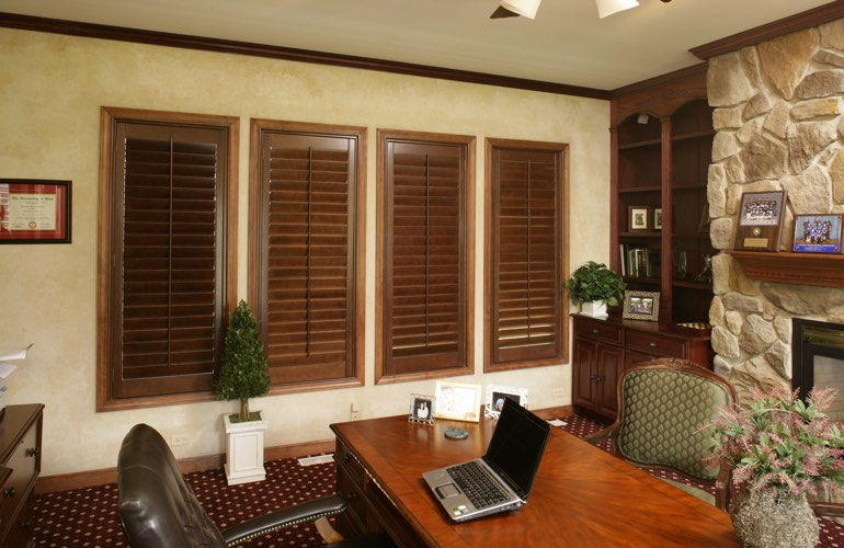 Wooden plantation shutters in a Tampa home office