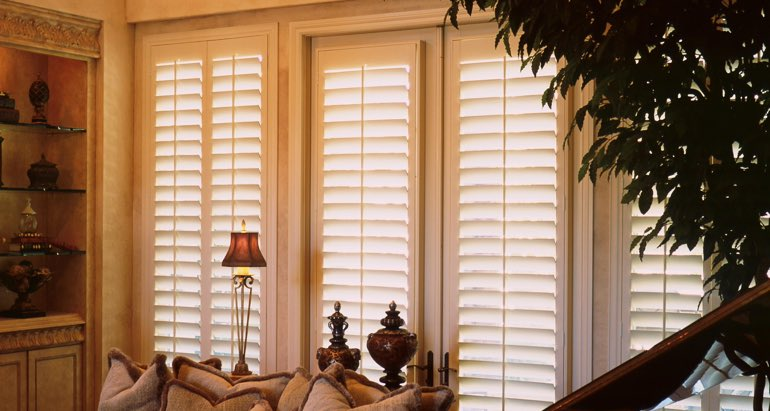 Plantation shutters on french door and window in Tampa living room