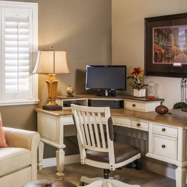 Tampa home office plantation shutters.