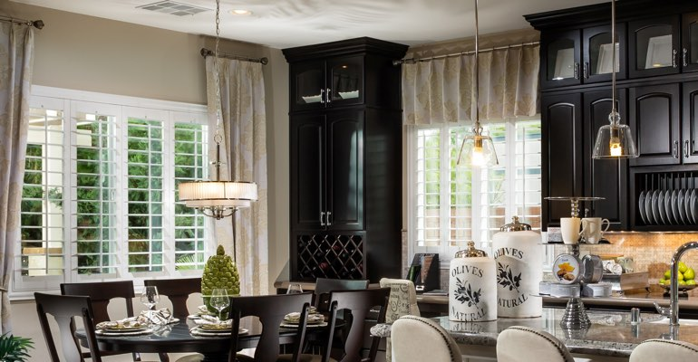 Tampa kitchen dining room with plantation shutters.