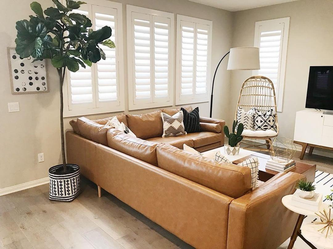Cozy living room with Polywood shutters in Tampa.