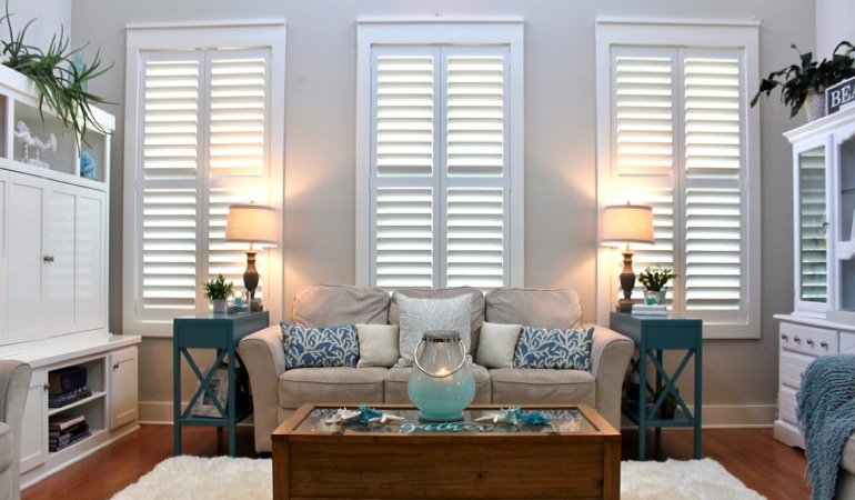 Tampa modern living room with faux wood shutters