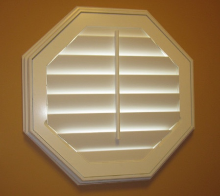 Tampa octagon window with white shutter