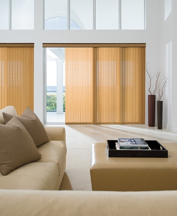 Panel track blinds in bright living room