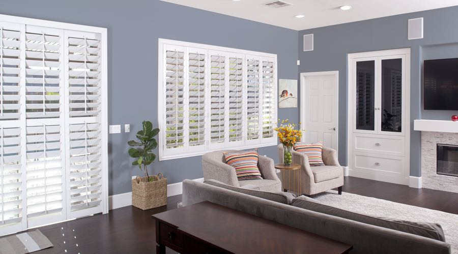 Faux Wood Shutters In blue Tampa Living Room