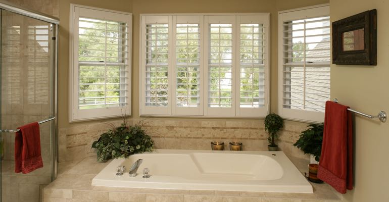 Plantation shutters in Tampa bathroom.