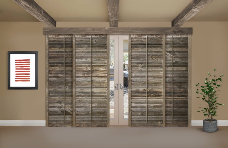 Reclaimed Wood Shutters On A Sliding Glass Door In Tampa - Reclaimed Wood Shutters For Sale Sunburst Shutters Tampa, FL