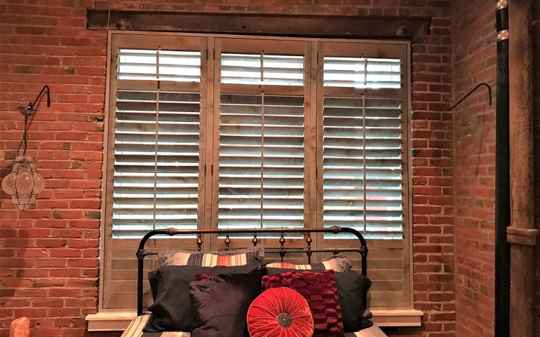 repurposed wood shutters in Tampa apartment