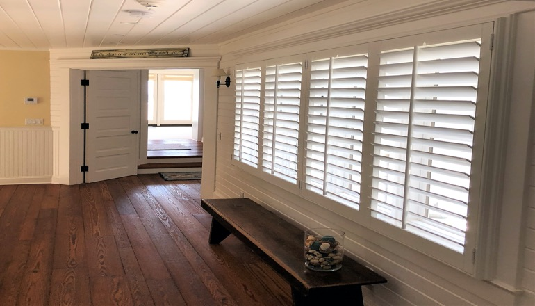 Faux wood plantation shutters in Tampa