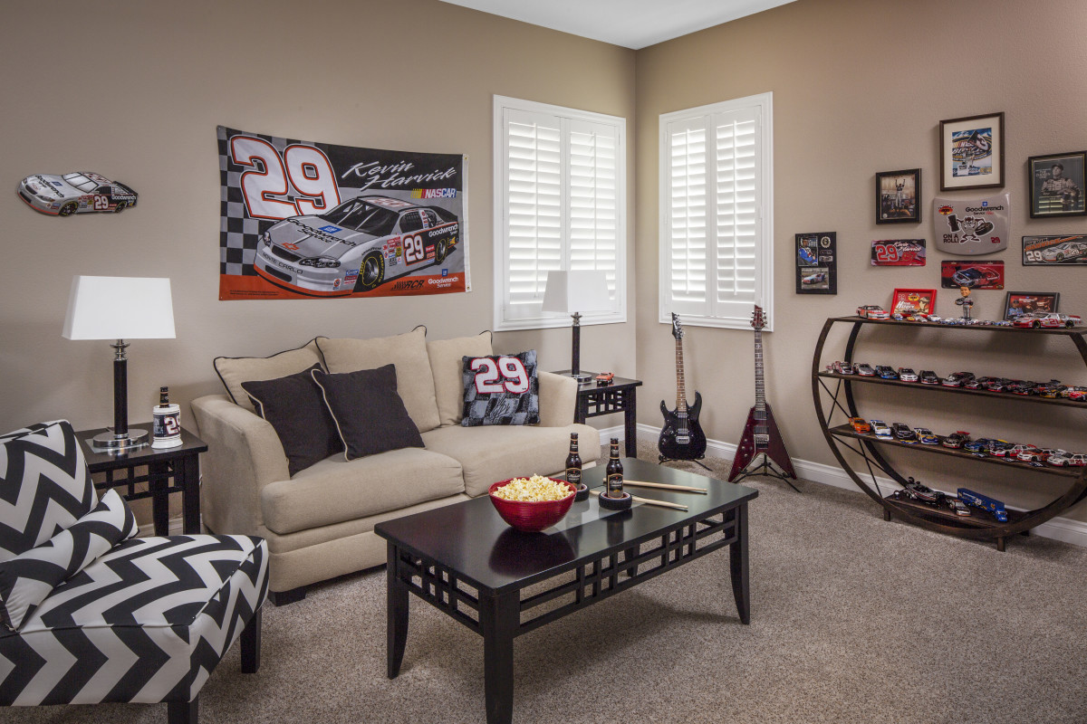 Tampa man cave with shutters
