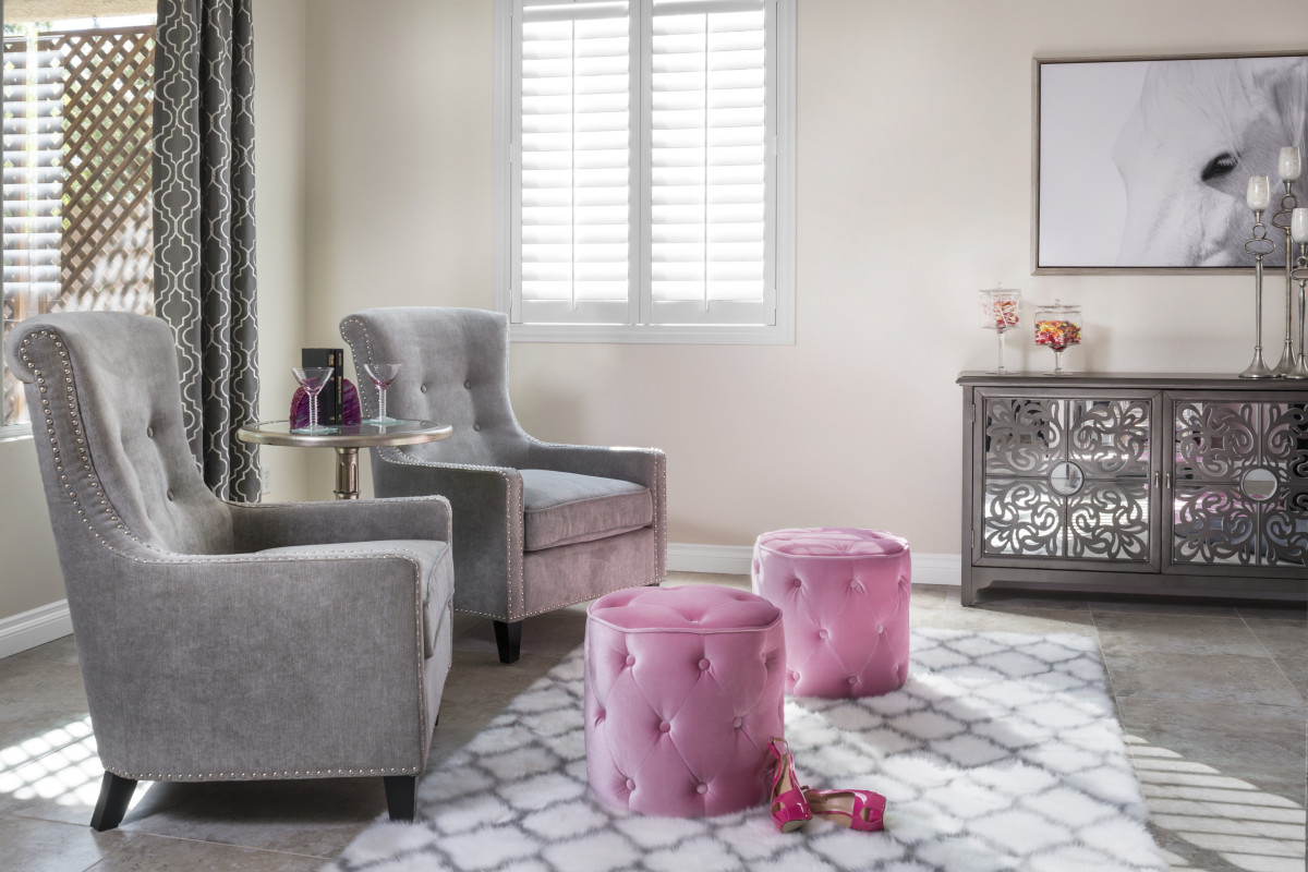 Tampa pink living room with shutters