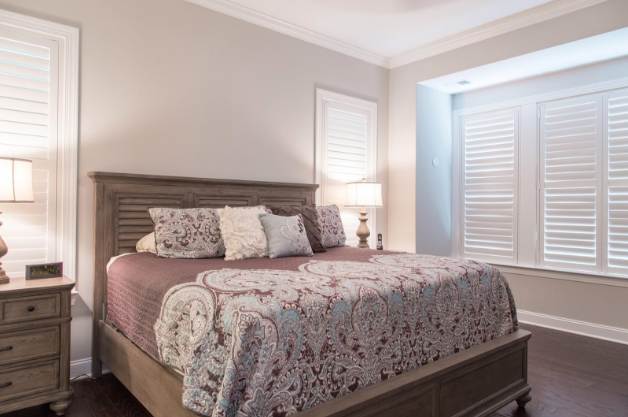 Tampa bedroom with light block shutters