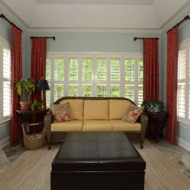 Tampa sunroom plantation shutters.