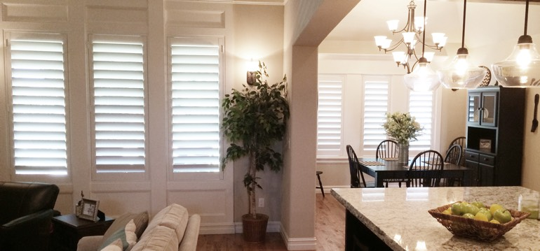 Tampa shutters in kitchen and great room