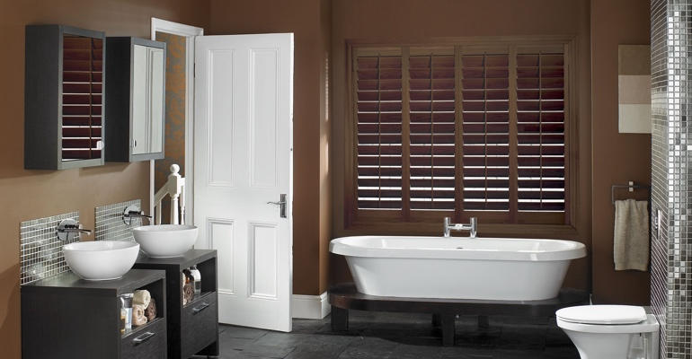 Tampa bathroom shutters wood stain