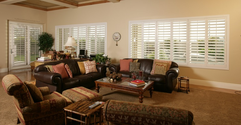 Tampa great room with interior shutters.