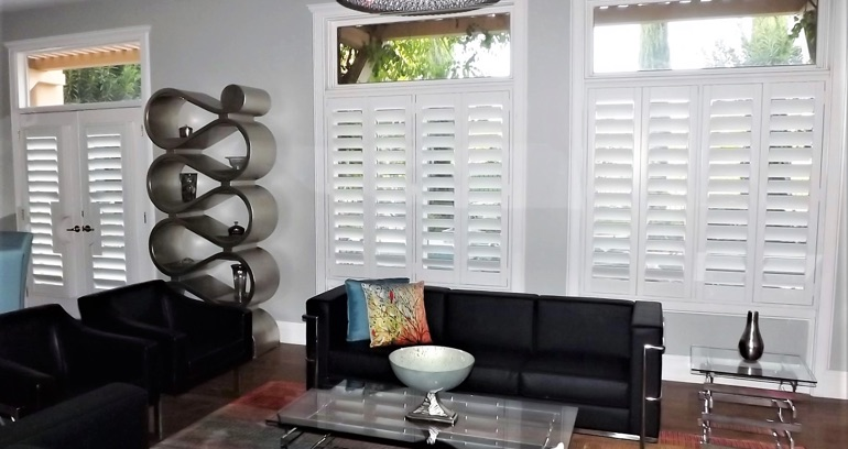 Tampa DIY shutters in living room.