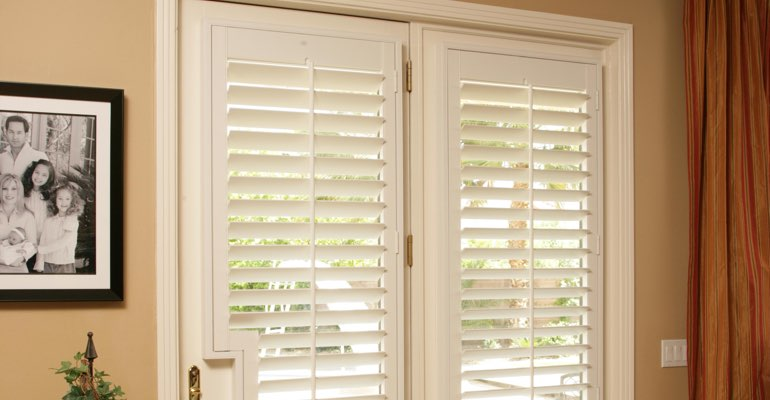 Tampa french door white shutters